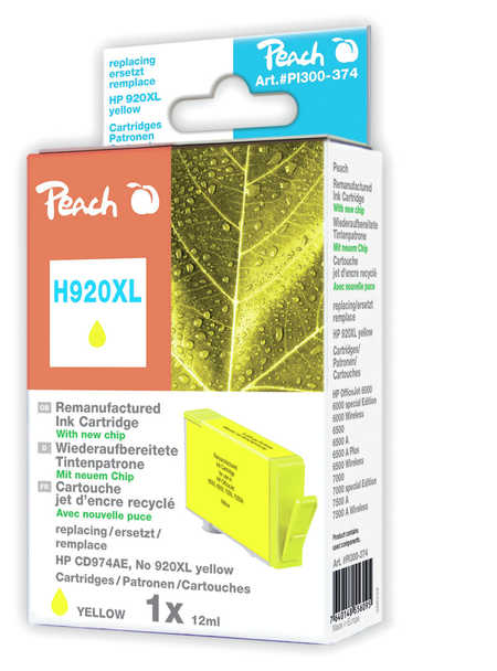 Peach  cartouche d'encre jaune HC compatible avec  ID-Fabricant: No. 920XL, CD974AE HP OfficeJet 6500 Wireless