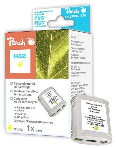 Peach Cartouche d'encre  jaune, compatible avec ID-Fabricant: No. 82, C4913A HP DesignJet 500 E
