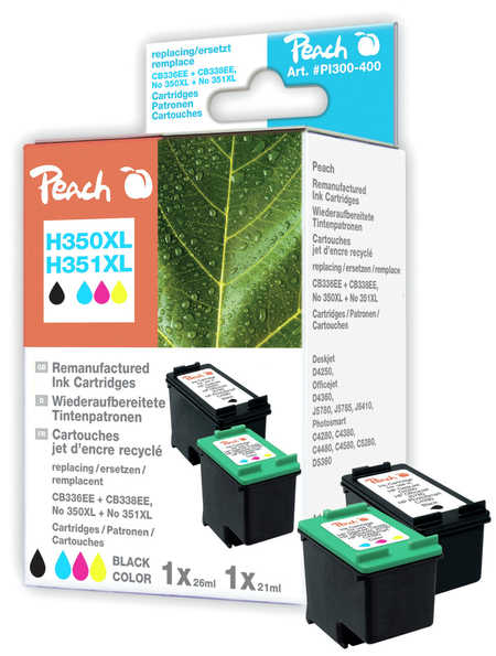 Peach  Multi Pack, compatible avec ID-Fabricant: No. 350XL black, CB336EE, No. 351XL color, CB338EE HP OfficeJet J 5780