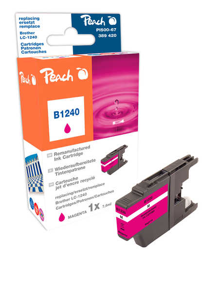 Peach Cartouche d'encre  magenta, compatible avec ID-Fabricant: LC-1240 m Brother MFCJ 6510 DW