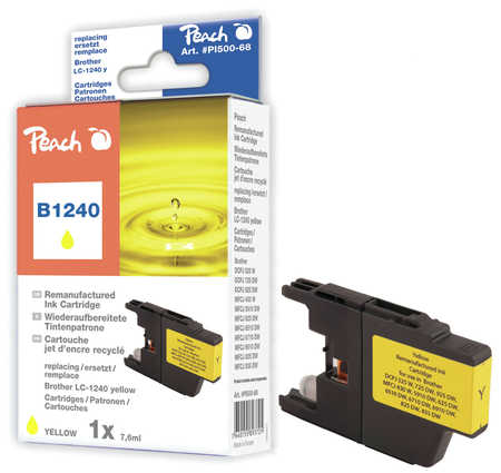 Peach Cartouche d'encre  jaune, compatible avec ID-Fabricant: LC-1240 y Brother MFCJ 6510 DW