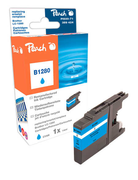 Peach  XL cartouche d'encre cyan, compatible avec ID-Fabricant: LC-1280 c Brother MFCJ 6510 DW