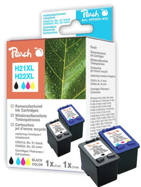 Peach  Multi Pack, compatible avec ID-Fabricant: No. 21XL, C9351AE, No. 22XL, C9352AE HP OfficeJet 4625