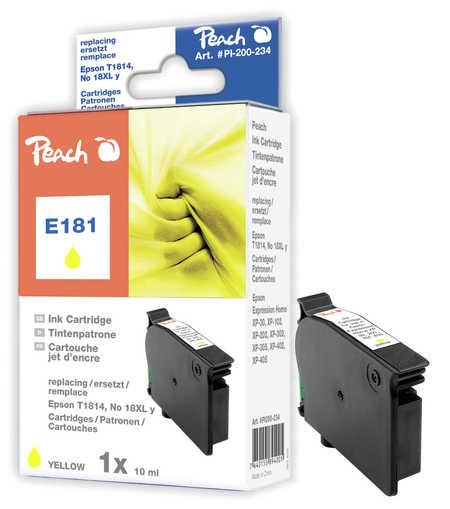 Peach Cartouche d'encre  jaune, compatible avec ID-Fabricant: No. 18XL y, T1814 Epson Expression Home XP-302