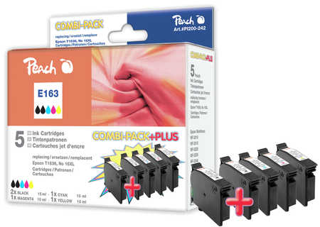 Peach Multipack Plus  compatible avec ID-Fabricant: No. 16XL, T1636 Epson WorkForce WF-2010 W