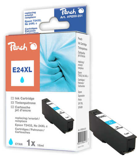 Peach Cartouche d'encre  HY cyan, compatible avec ID-Fabricant: No. 24XL c, T2432 Epson Expression Photo XP-950