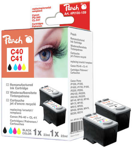 Peach  Multi Pack, compatible avec ID-Fabricant: PG-40, CL-41 Canon Pixma IP 1600