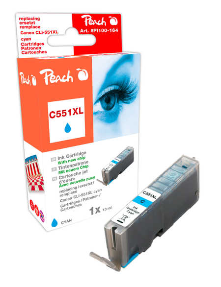 Peach  Ink Cartridge cyan compatible with ID-Fabricant: CLI-551, CLI-551C XL Canon Pixma MX 725