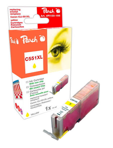 Peach  XL Ink Cartridge yellow with chip compatible with ID-Fabricant: CLI-551, CLI-551Y XL Canon Pixma MX 725