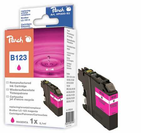 Peach Cartouche d'encre  magenta, compatible avec ID-Fabricant: LC-123 Brother MFCJ 4310 DW