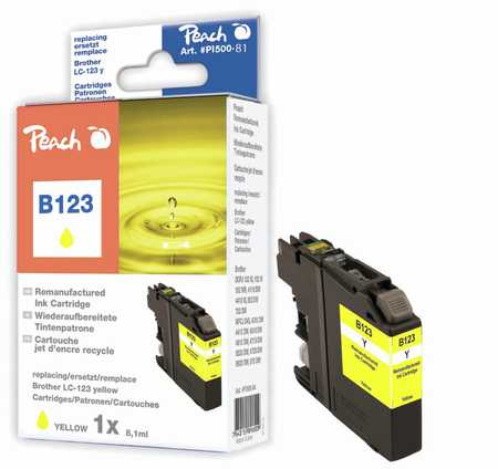 Peach Cartouche d'encre  jaune, compatible avec ID-Fabricant: LC-123 Brother MFCJ 4310 DW