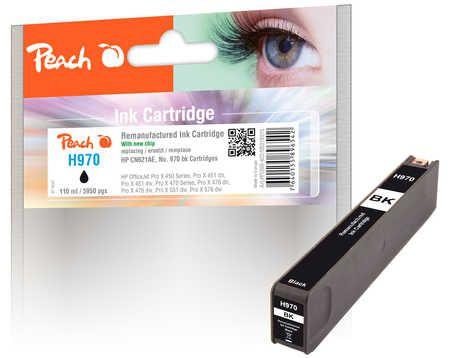 Peach  cartouche d'encre noire compatible avec ID-Fabricant: No. 970, CN621AE HP OfficeJet Pro X 451 dn