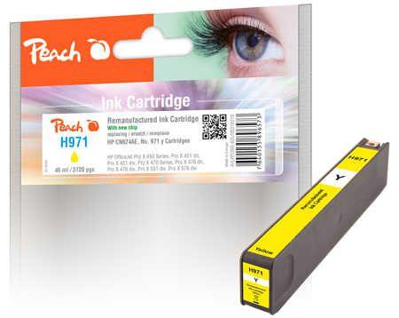 Peach  cartouche d'encre jaune compatible avec ID-Fabricant: No. 971, CN624AE HP OfficeJet Pro X 451 dn
