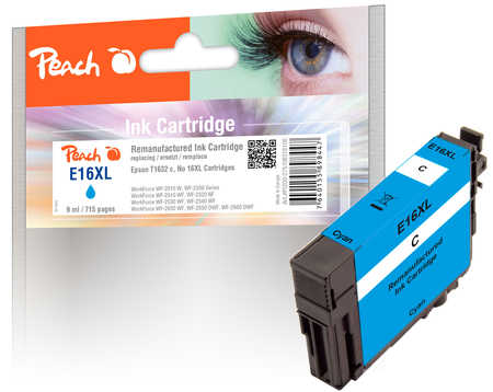 Peach Cartouche d'encre  cyan, compatible avec ID-Fabricant: T1632, T163 Epson WorkForce WF-2530 WF
