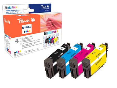 Peach  Multi Pack, compatible avec ID-Fabricant: T1636, T163 Epson WorkForce WF-2520 NF
