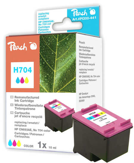 Peach Tête d'impression  couleur, compatible avec ID-Fabricant: No. 704, CN693AE HP DeskJet Ink Advantage 2010
