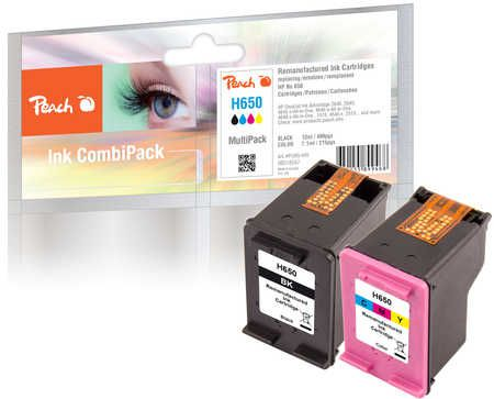 Peach  Multi Pack, compatible avec ID-Fabricant: No. 650 Series HP DeskJet Ink Advantage 3546 e-All-in-One