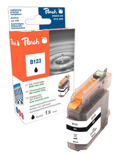 Peach Cartouche d'encre  noir, compatible avec ID-Fabricant: LC-123 Brother MFCJ 4310 DW