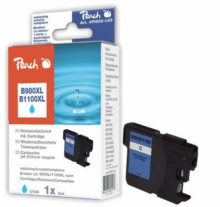 Peach  XL cartouche d'encre cyan, compatible avec ID-Fabricant: LC-1100, LC-980 Brother DCP-163 C