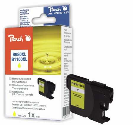 Peach  cartouche d'encre jaune XL, compatible avec ID-Fabricant: LC-1100, LC-980 Brother DCP-163 C
