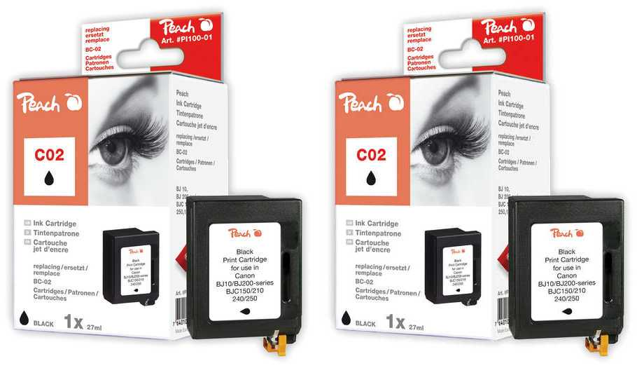 Peach  Twin Pack Print-head black, compatible with ID-Fabricant: BC-02 bk Apple Color Stylewriter 1500