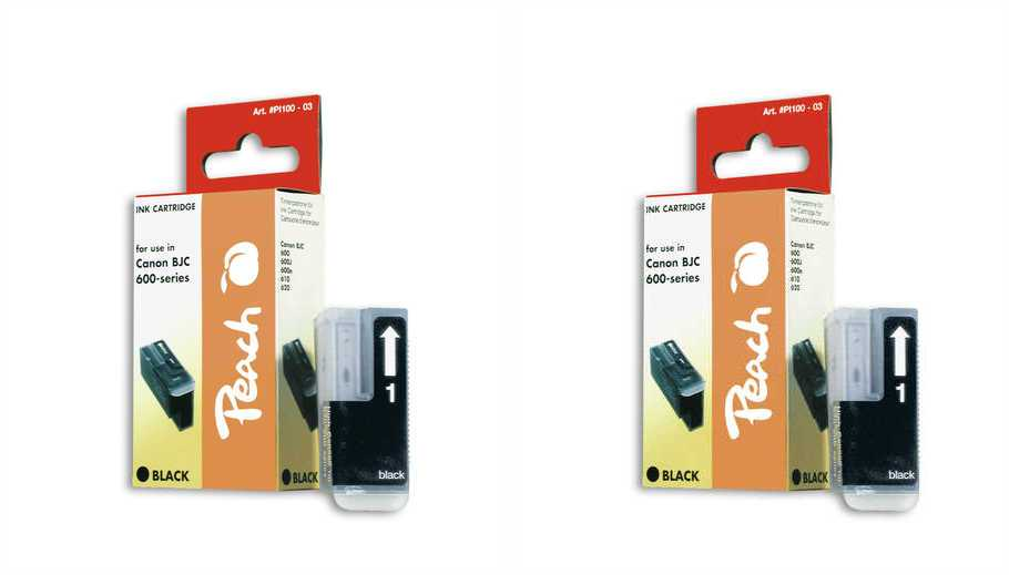 Peach  Twin Pack Ink Cartridge black, compatible with ID-Fabricant: BJI-201 bk Apple Color Stylewriter PRO