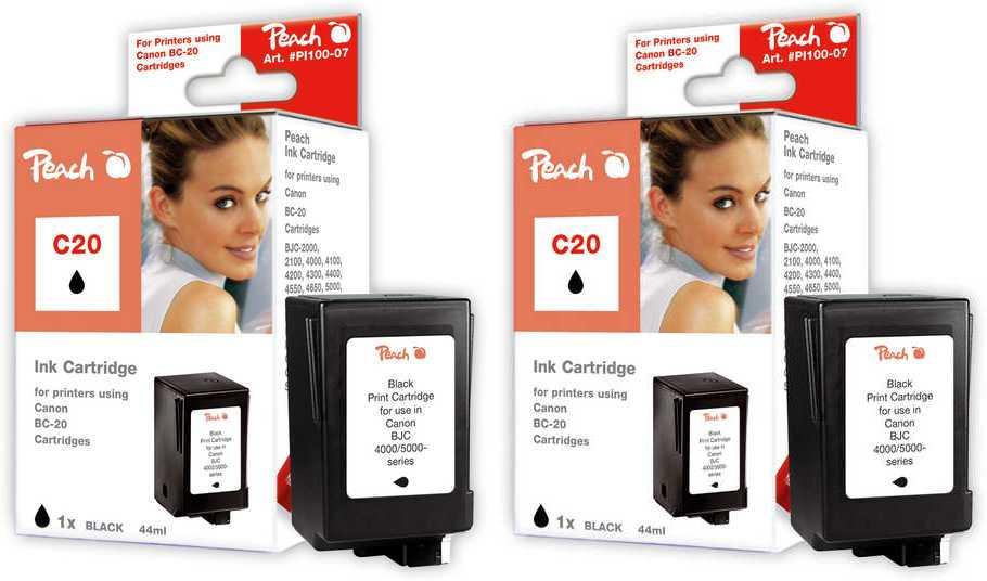 Peach  Double Pack tête d'impression noir, compatible avec ID-Fabricant: BCI-20 bk Canon Multipass C 555