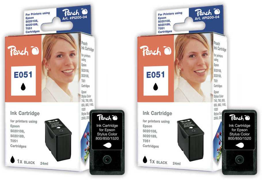 Peach  Twin Pack Ink Cartridge black, compatible with ID-Fabricant: S020189, T051 Epson Stylus Color 1160