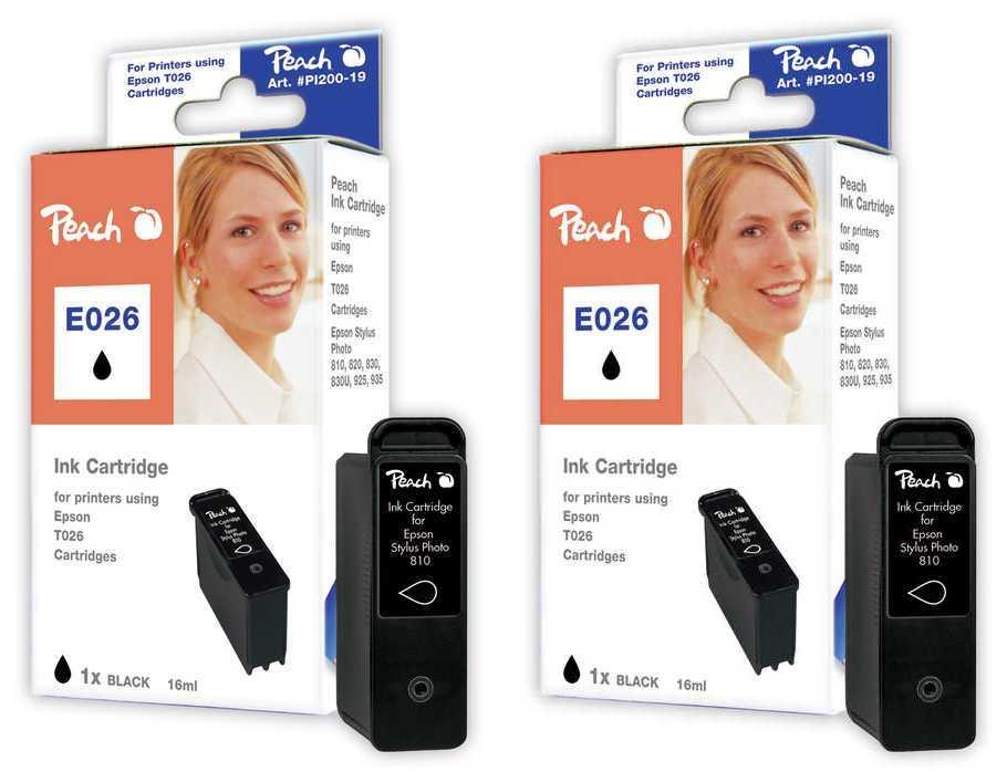 Peach  Twin Pack cartouche d'encre noire, compatible avec ID-Fabricant: T026 Epson Stylus Photo 830