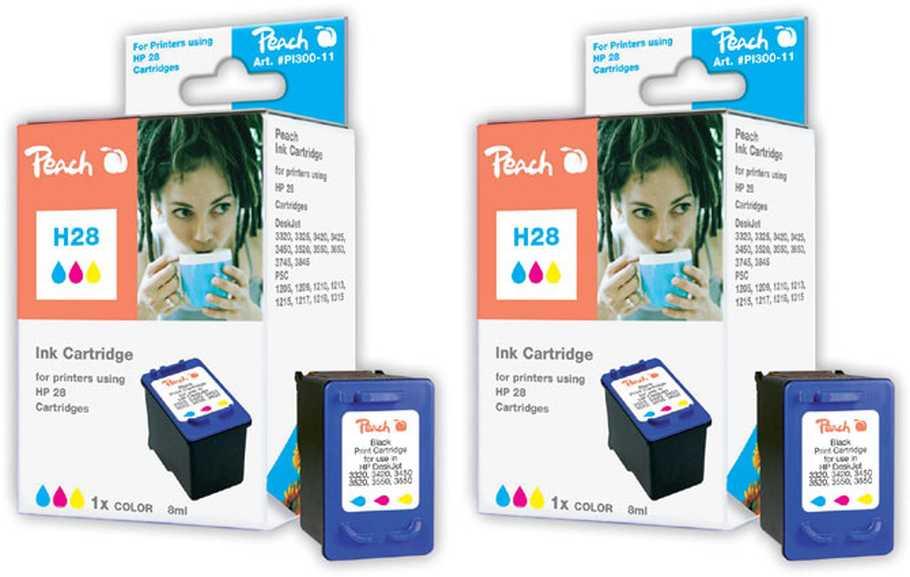 Peach  Double Pack tête d'impression couleur, compatible avec ID-Fabricant: No. 28, C8728AE HP DeskJet 3420