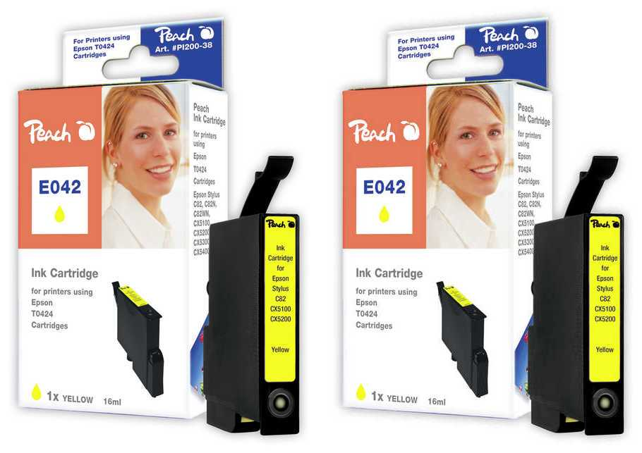 Peach  Twin Pack Ink Cartridge yellow, compatible with ID-Fabricant: T0424 Epson Stylus C 82