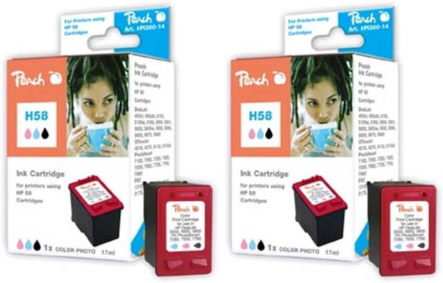Peach  Double Pack tête d'impression photo couleur, compatible avec ID-Fabricant: No. 58, C6658A HP PSC 1310