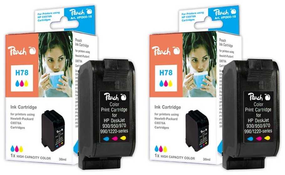 Peach  Double Pack tête d'impression couleur, grande capacité, compatible avec ID-Fabricant: No. 78, C6578A HP Digital Copier 310