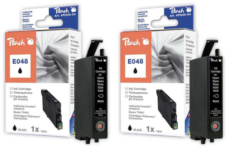 Peach  Twin Pack cartouche d'encre noire, compatible avec ID-Fabricant: T0481 Epson Stylus Photo R 300