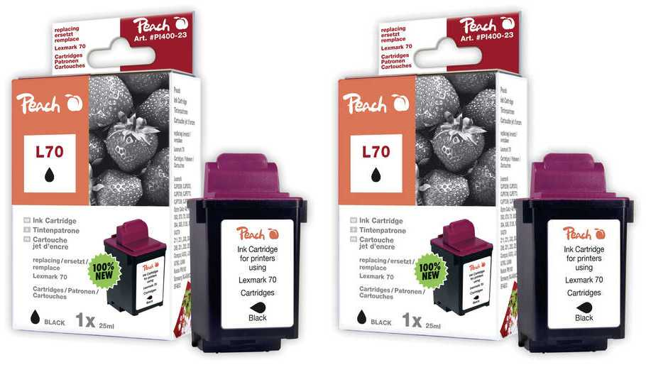 Peach  Double Pack tête d'impression noir, compatible avec ID-Fabricant: No. 70BK*2, 12A1970, 12AX970E Compaq A 1500