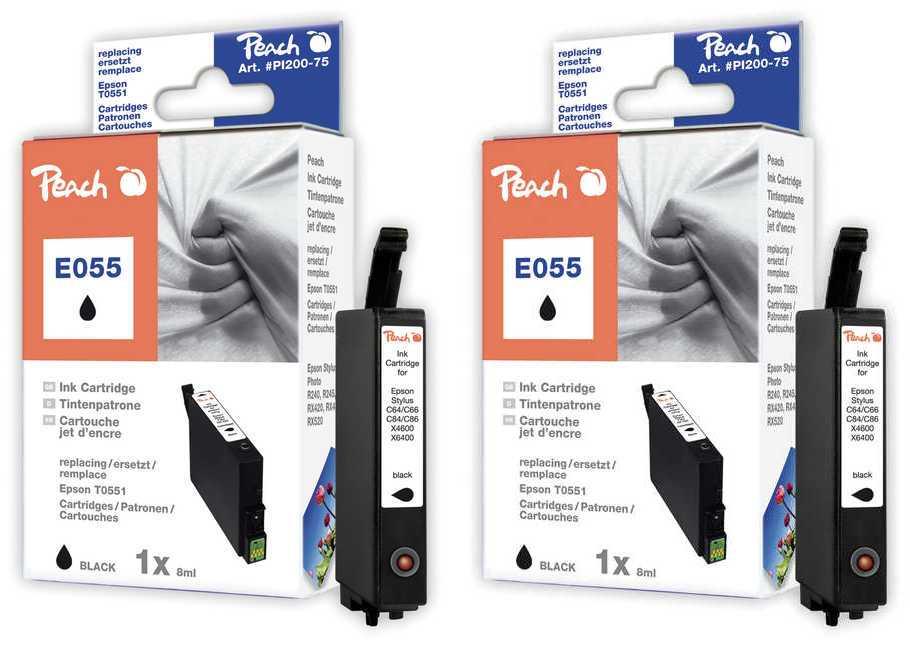 Peach  Twin Pack cartouche d'encre noire, compatible avec ID-Fabricant: T0551 Epson Stylus Photo RX 420