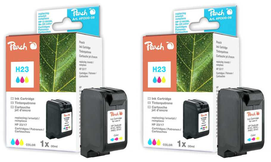 Peach  Twin Pack Ink Cartridge colour, compatible ID-Fabricant: No. 23, C1823D HP DeskJet 810 C