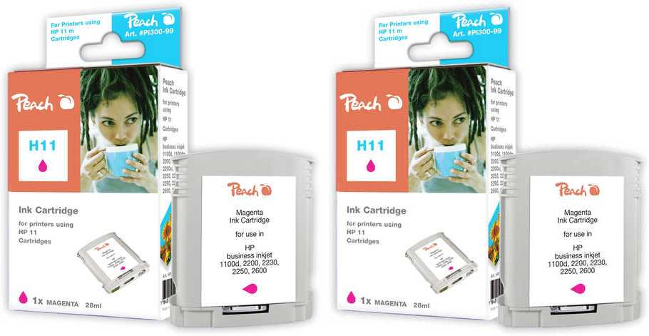 Peach  Twin Pack cartouche d'encre magenta, compatible avec ID-Fabricant: No. 11 magenta, C4837A HP Business InkJet 2200
