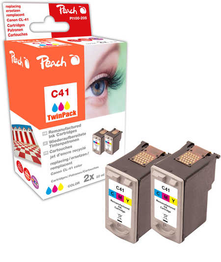 Peach  Twin Pack Print-head colour, compatible with ID-Fabricant: CL-41 Canon Pixma IP 1600