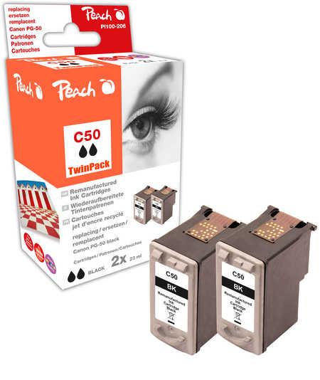 Peach  Double Pack tête d'impression noir, compatible avec ID-Fabricant: PG-50 Canon Pixma IP 2200