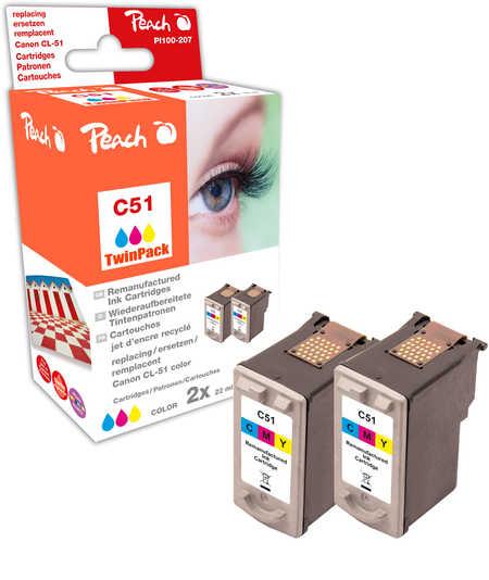 Peach  Double Pack tête d'impression couleur, compatible avec ID-Fabricant: CL-51 Canon Pixma IP 2200