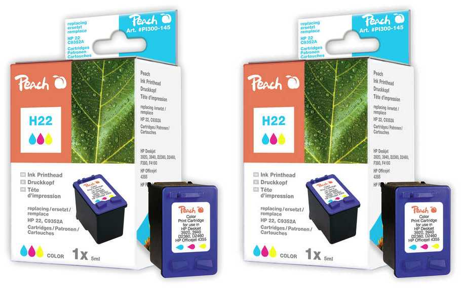 Peach  Twin Pack Print-head colour, compatible with ID-Fabricant: No. 22XL, C9352AE HP OfficeJet 4625