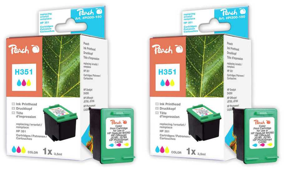 Peach  Twin Pack Print-head color, compatible with ID-Fabricant: No. 351, HP CB337EE HP OfficeJet J 5780