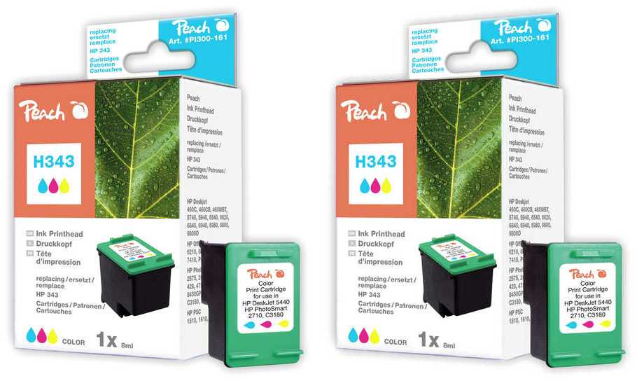 Peach  Twin Pack Print-head colour, compatible with ID-Fabricant: No. 343, C8766EE HP DeskJet 5740
