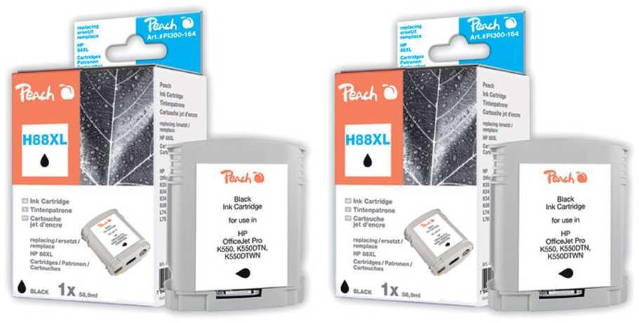 Peach  Twin Pack cartouche d'encre noire compatible avec ID-Fabricant: No. 88XL, C9396AE HP OfficeJet Pro K 550