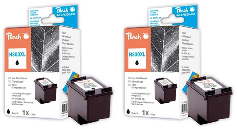 Peach  Double Pack tête d'impression noir, compatible avec ID-Fabricant: No. 300XL, CC641EE HP DeskJet F 4435