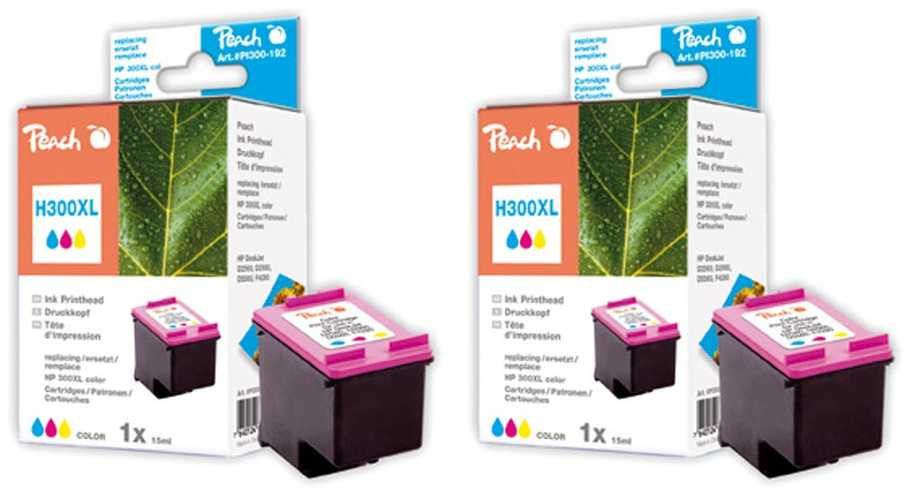 Peach  Double Pack tête d'impression couleur, compatible ID-Fabricant: No. 300XL, CC644EE HP DeskJet F 4435