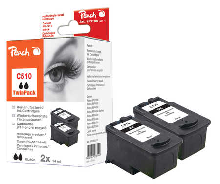 Peach  Twin Pack Print-head black, compatible with ID-Fabricant: PG-510 Canon Pixma MP 240