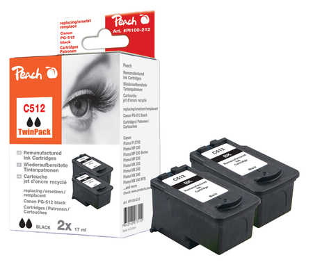 Peach  Twin Pack Print-head black, compatible with ID-Fabricant: PG-512 Canon Pixma MP 240