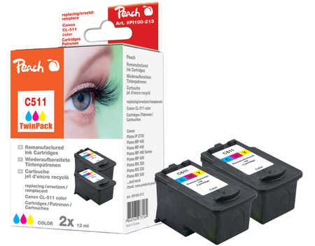 Peach  Twin Pack Print-head color, compatible with ID-Fabricant: CL-511 Canon Pixma MP 240